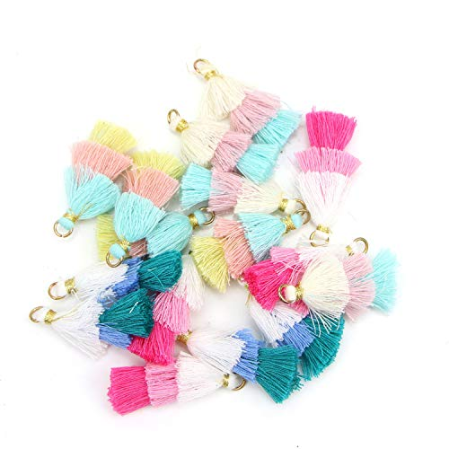 JETEHO 16Pcs 1.57'' Inches Mixed Color Tri-Layered Mini Tassels with Gold Jump Ring for Jewelry - Layered Tassel