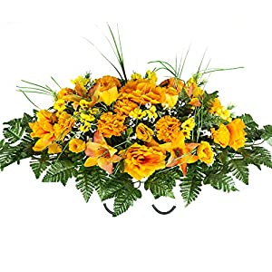 Orange Roses with Lilies and Carnations Artificial Saddle Arrangement (SD1773) 26