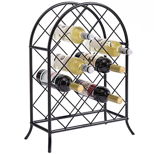 16-Bottle Modern Metal Black Freestanding Arch Wine Rack Organizer & Bottle Collection Display