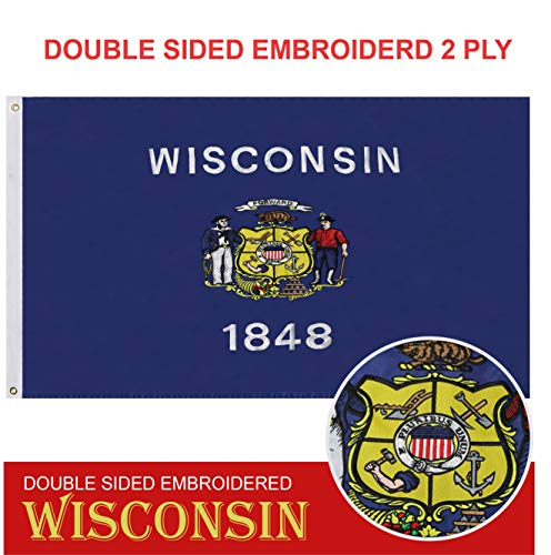 - G128 - Wisconsin State Flag | 3x5 feet | Double Sided Embroidered 210D - Indoor/Outdoor, Brass Grommets, Heavy Duty Polyester, 2-ply