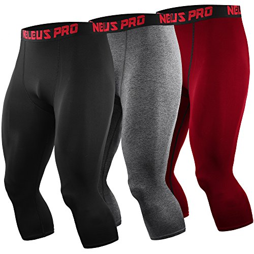Neleus Men's Compression 3/4 Capri Leggings Shorts Baselayer Sports Tights,6057,Black,Grey,red,M,EU L