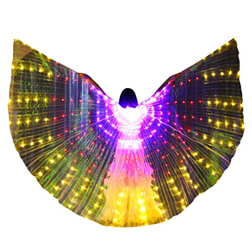m·kvfa Women LED Belly Dance Wings Colorful Wings with Telescopic Stick for Halloween Carnival Performance Angel Wings (Purple) ()