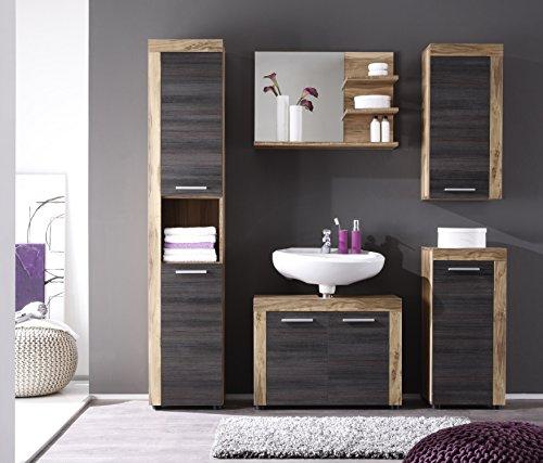 Trendteam CC90359 Bad Möbel Set 5-teilig Nussbaum Satin, BxHxT 175x184x34 cm