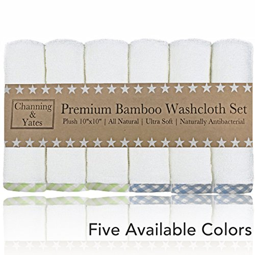 Premium Baby Washcloths - Bamboo (6-Pack) Organic Wash Cloths 2X Thicker & Softer - 10 x 10 in - Perfect for Eczema (Blue/Green)