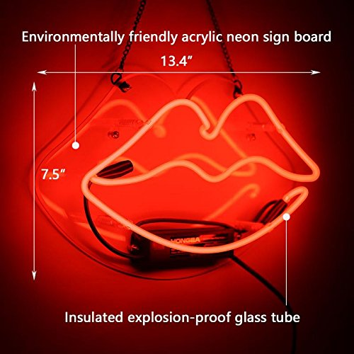 Lip Neon Sign Glass Neon Light for Girls Bedroom Lipstick Store Bar Hotel Decorative Sign 13.4 x 7.5 inch Red by FLYDOO (Image #5)