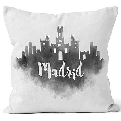 Amazon.com: Watercolor Madrid City Skyline Throw Pillow ...