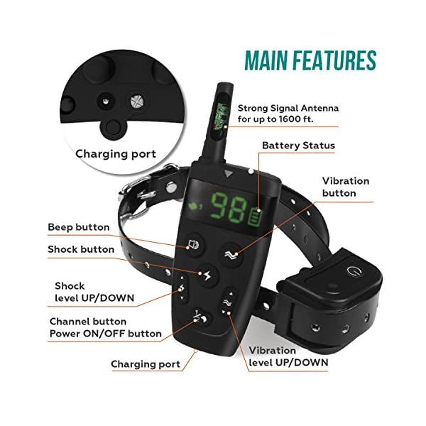[Upgraded 2020] Dog Training Collar with Remote - Shock Collar for Dogs Range 1600 feet, Vibration Control, Rechargeable Bark E-Collar - IPX7 Waterproof for Small, Medium, Large Dogs, All Breeds 3
