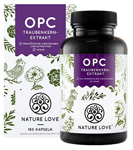 NATURE LOVE® OPC Traubenkernextrakt - Aus französischen Trauben UND Extraktion in Frankreich - 800mg Extrakt je Tagesdosis - Laborgeprüft, vegan, hergest. in Deutschland
