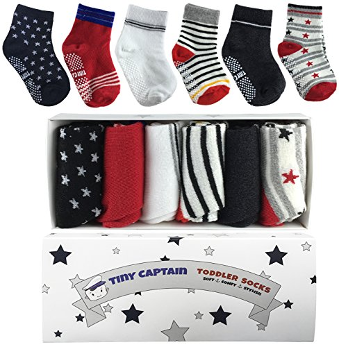 Toddler Boy Non Slip Socks, Best Gift For 1-3 Year Old Boys Baby Gifts Anti Slip Non Skid Grip Socks Gift Set by Tiny Captain (Red and Black) (1 Year Boy Gift)