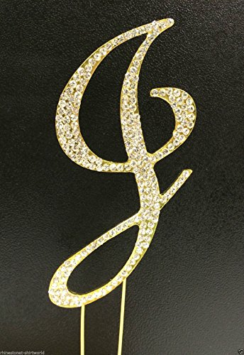 Crystal Letter Cake Toppers (Crystal Rhinestone Covered Gold Monogram Wedding Cake Topper Letter J)