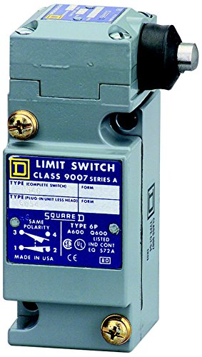 Square D 9007C54G Heavy Duty NEMA Limit Switch, Full Size, 1 Pole, Side Push Plunger Head ()