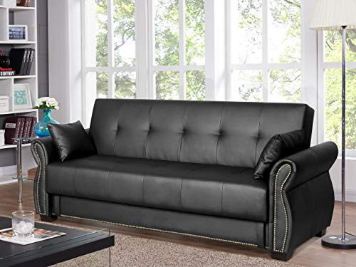 Serta Active 3-Seat Convertible Sofa with Storage Studded Arm Faux Leather - Sofa Ebony