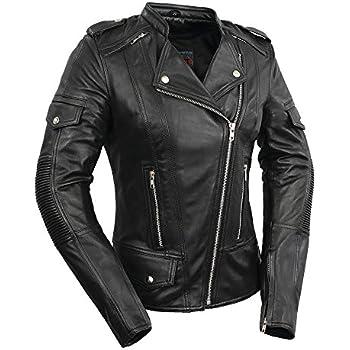 First Mfg Co FIL187CJZ-XL-BLK The Warrior Princess Ladies Motorcycle Leather Jacket X-Large Black
