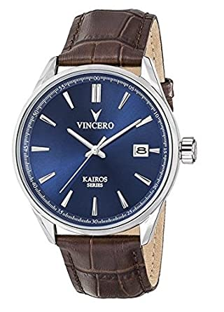 Kairos Armbanduhr - Blau-Braun - mit GehÄuseboden aus italienischem Marmor