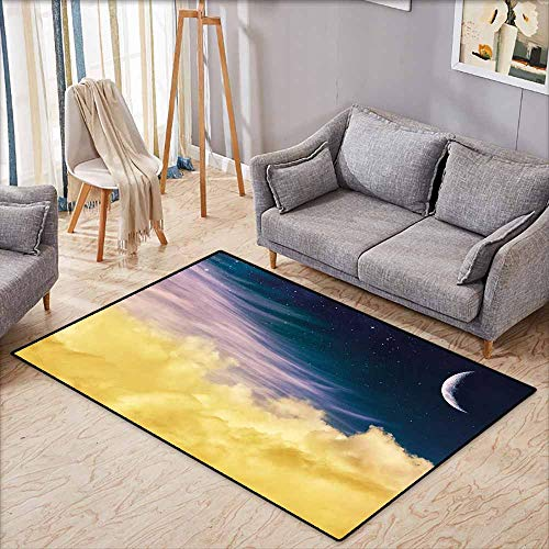 Living Room Rug,Surrealistic,Dreamy Night Sky with Crescent Moon Stars Galaxy Universe Print,Rustic Home Decor,4'11