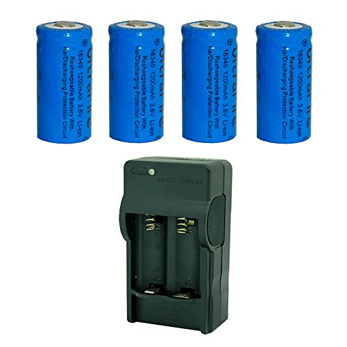 RedEarth 4 x 1200mAh 3.7V16340 CR123A Rechargeable Li-Ion Battery Charger Set for Cree LED Pen Camera Flashlight Digital Camera Camcorder Toys