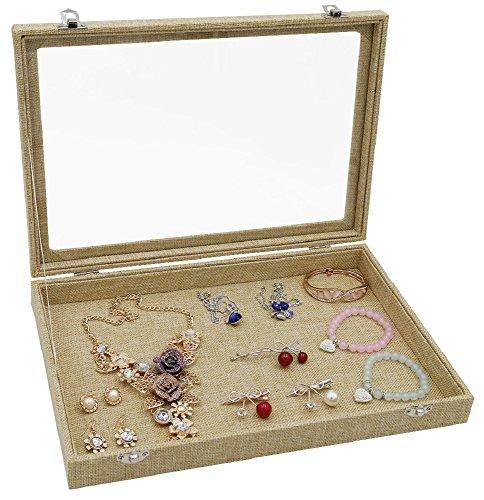 Ladies Case Jewelry (Wuligirl Clear Lid Linen Multifunction Jewelry Tray Organizer Showcase Display Necklace Rings Earrings Watch Bracelets Sackcloth Box Case Women(Empty Jewelry Box))