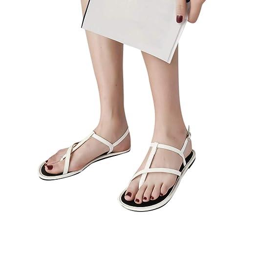 1f268223e707e Amazon.com: Women Flat Sandals Summer Ladies Cross Strap Flat Ankle ...