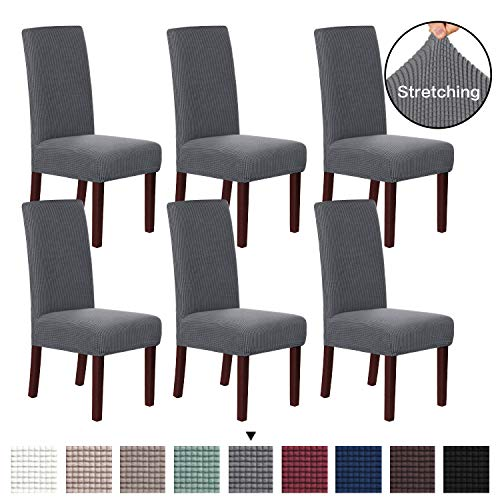 H.VERSAILTEX 6 Pack Stretch Dining Room Chair Slipcovers Sets Stretch Chair Furniture Protector Covers Jacquard Removable Washable Elastic Bottom Chair Cover for Dining Room, Hotel, Ceremony – Gray