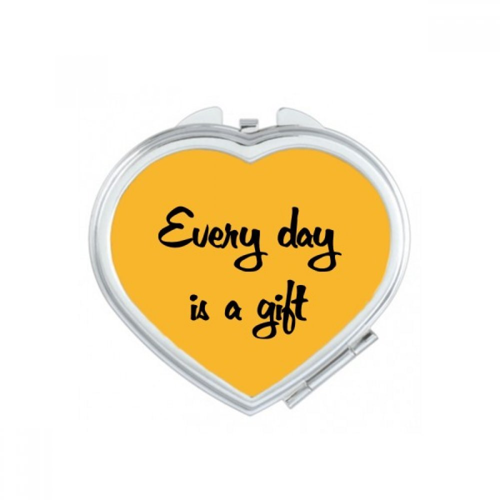 Every Day Is A Gift Inspirational Quote Sayings Heart Compact Makeup Pocket Mirror Portable Cute Small Hand Mirrors Gift