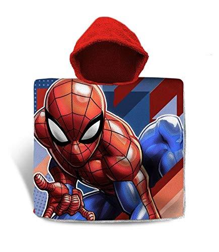 Poncho da Spiaggia in Cotone Taglia Unica 120 x 60 cm per Tempo Libero e Sport Unisex per Bambini Spiderman