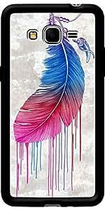 Funda para Samsung Galaxy Grand Prime G530, Negro Brillante, revestimiento de silicona Rainbow pluma por Rachel Caldwell