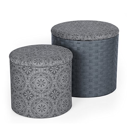 ELEGAN Fabric Round Storage Ottoman, Two Pieces
