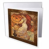 Sandy Mertens Vintage Halloween Designs - Vintage Halloween Lady holding Jack o Lantern - Greeting Cards-6 Greeting Cards with envelopes (gc_6194_1)
