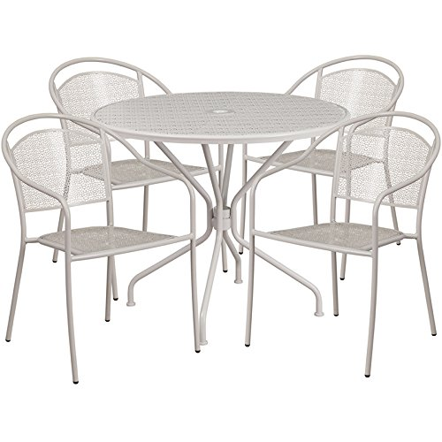 Westbury 5-pcs Table Set Round 35.25'' Light Gray w/4 Round Back Chairs by iHome Studio