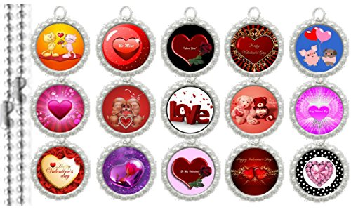 (15 Valentines Day SILVER Bottle Cap Pendant Necklaces Set 2)