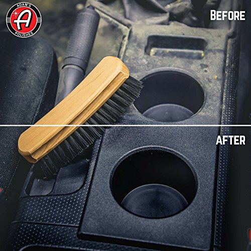 Adam's Cockpit Brush - Designed to Deep Clean Carpet & Upholstery, Leather Interior Without Harming Your Interior Surfaces - Durable Premium Quality Nylon Bristles (Full-Size)