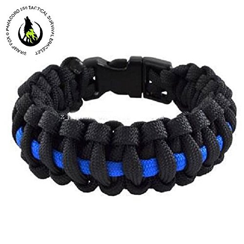 Swamp Fox Outdoor Travel Camping Thin Blue Line Black Braided Cobra Weave Plastic Buckle Paracord Survival Bracelet Police Thin Blue Line