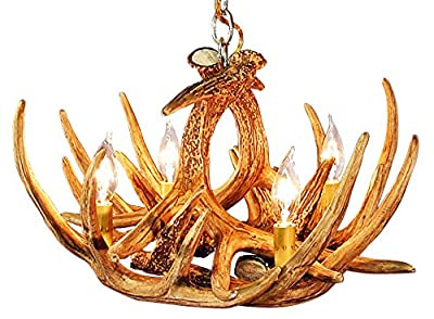 Rustic White Tail 6 Antler Chandelier with 4 Lights