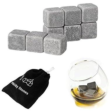 OVR-ROX - Over Rocks Gift Set of 9 Whiskey Granite Chill Stones for Scotch, Whisky and Bourbon in Velvet Bag