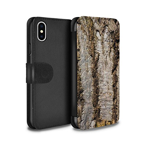 Ladies Aged Bark - STUFF4 PU Leather Wallet Flip Case/Cover for Apple iPhone Xs/Aged Design/Tree Bark Collection