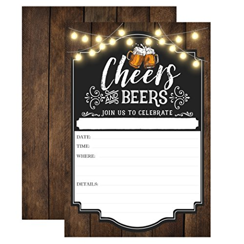 Cheers and Beers Birthday Invitation, Adult Birthday Party Invites, 30 years, 40 years, 50 years, 21 years, 20 Fill In Invitations With Envelopes]()