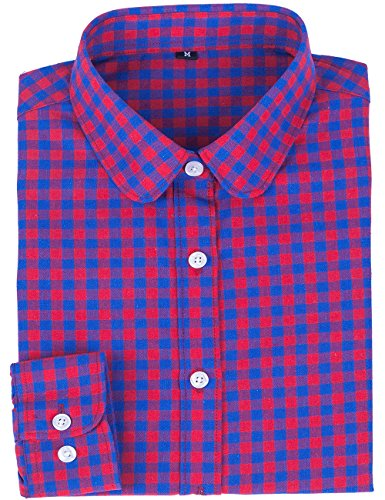 DOKKIA Women's Fashion Tops Feminine Long Sleeve Button Down Work Casual Dress Blouses Shirts (Small, Blue Red ()