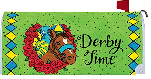 Custom Decor Derby Time - Mailbox Makover Cover - Vinyl witn Magnetic Strips for Steel Standard Rural Mailbox - Copyright, Licensed and Trademarked Inc.
