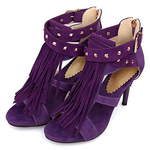 TAOFFEN High Purple Shoes Sandals Heel Fringe Women's rCUrxqR