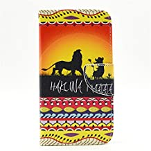 S5 Case, Galaxy S5 Case, GOODTONY [Wallet Function] The unique design PU Leather Wallet Stand Flip Case Cover for Samsung Galaxy S5 (Hakuna Matata Lion)