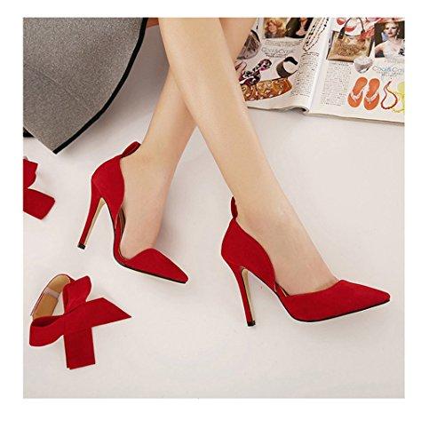 de vestido alto mujer tac pajarita zapatos de n Xianshu bombas corte fiesta de Rojo Bt0q66