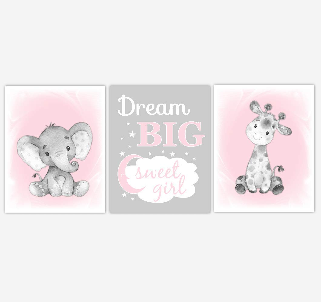 Safari Animals Baby Girl Nursery Wall Art Pictures Pink Elephant Giraffe Dream Big Baby Nursery Decor SET OF 3 UNFRAMED PRINTS