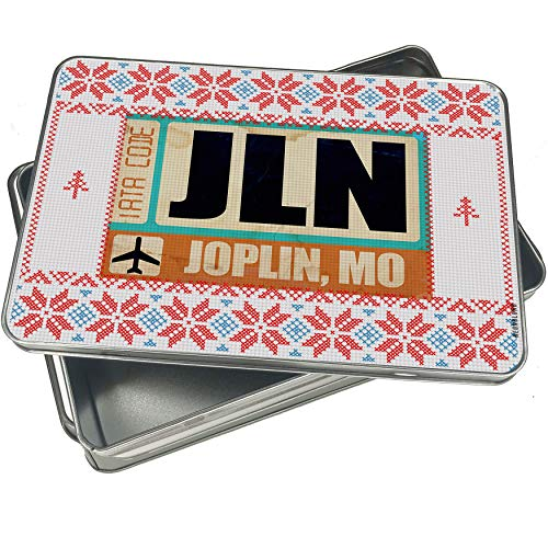 NEONBLOND Cookie Tin Box Airportcode JLN Joplin, MO Vintage Christmas Pattern ()