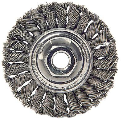 Radnor 64000374 4'' X 1/2'' - 13 Stainless Steel Standard Twist Knot Wire Wheel Brush For Use On Small Angle Grinders (5 PER CASE)