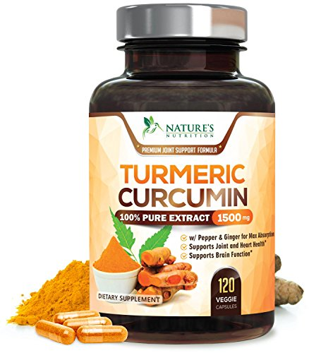 Turmeric Curcumin 100% Pure Extract 95% Curcuminoids with Black Pepper & Ginger for Best Absorption, Anti-Inflammatory Joint Relief, Turmeric Supplement Pills, By Nature's Nutrition – 120 Capsules