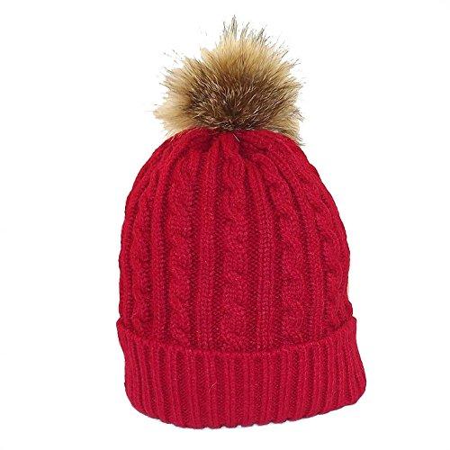 Chapeau,tendance , Bonnet rouge pompon , , Mixte