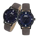 Couple Watches Leather Strap 30M Water Resistant Analog Quartz Round Dial Wist Watch for His and Hers