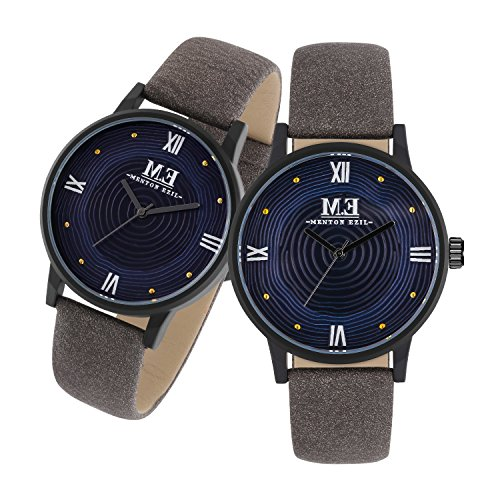 Couple Watches Leather Strap 30M Water Resistant Analog Quartz Round Dial Wist Watch for His and - Nylon And Minerals Are Plastic