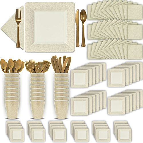 (Fancy Disposable Ivory (Cream) Dinnerware Set - 24 Guest - 2 Size Square Plates, Cups, Napkins, Spoons, Forks, Knives - Made of Heavyweight Paper - Posh Supplies, Elegant Design for Upscale Party)