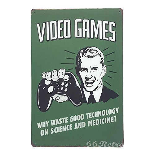 Metal Video Game (Video Games, Why Waste good technology on science and medicine?, Vintage Tin Sign, Wall plaques, Wall Decor By 66retro)